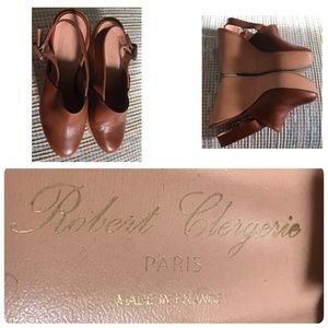 Robert Clergerie Mule Platform Sz 8.5 Brown French